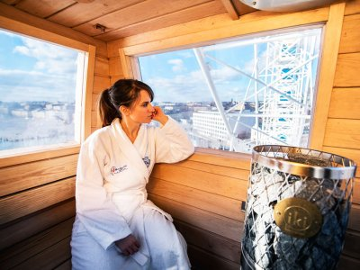 Have sauna in Sky Wheel cabin in Helsinki