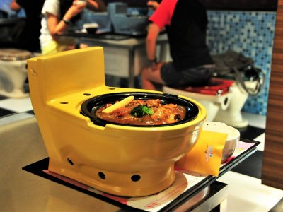 Order meal in a toilet bowl in Taiwan