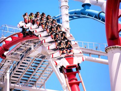 Take roller coaster rides at Universal Park in Singapore