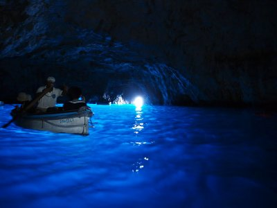 Go to the blue grotto in a boat on Capri