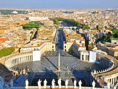 Look at Rome and Vatican City from the top of St. Peter's Basilica in Vatican