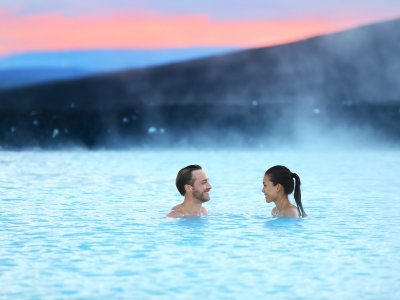 Take a bath in hot springs in Reykjavik