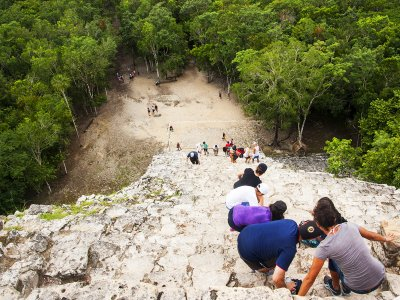 Climb to the top of the Nohoch Mul pyramid in Cancun