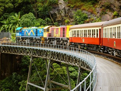 Take a journey through the tropical forest on an old-fashioned train in Cairns