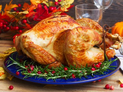 Taste roast turkey on Thanksgiving Day in New York