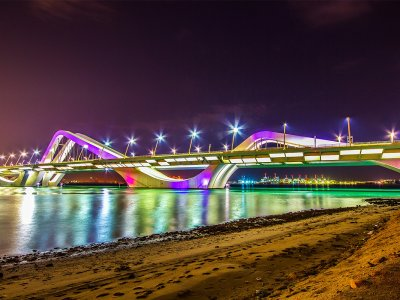 Drive over Sheikh Zayed Bridge in Abu Dhabi
