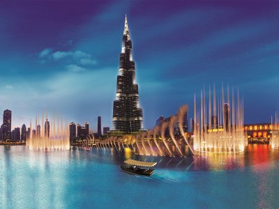Take the Dubai Fountain lake ride in Dubai