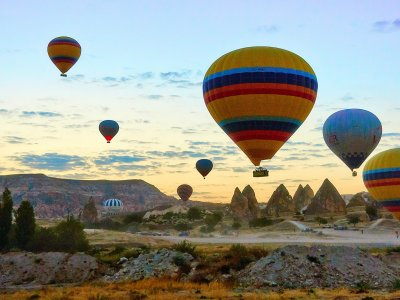 Fly aboard a hot air balloon over Cappadocia in Cappadocia