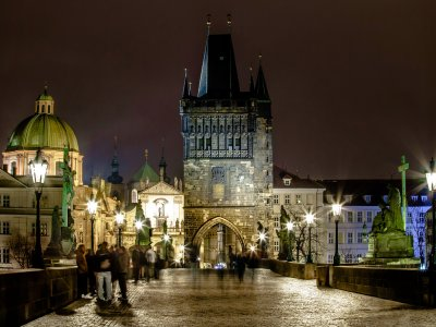 Take a walk across the Charles Bridge in Prague