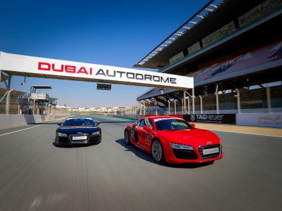 Drive Audi R8 on a racing track in Dubai
