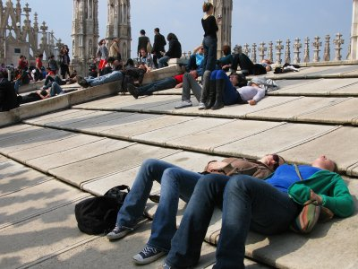 Get a tan on the roof of Milan Cathedral in Milan