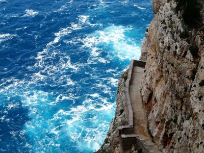 Walk the breakneck stairs Scala del Capriolo on Sardinia