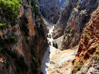 Go along the bottom of the Aradena Gorge on Crete