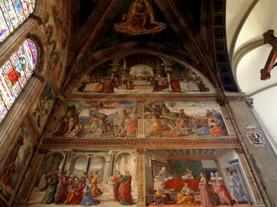 Look at the frescoes in the church of Santa Maria Novella in Florence