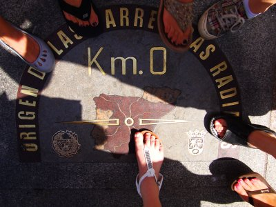 Find zero kilometer on Puerta del Sol in Madrid