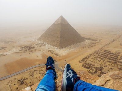 Climb to the top of the Pyramid of Cheops in Cairo
