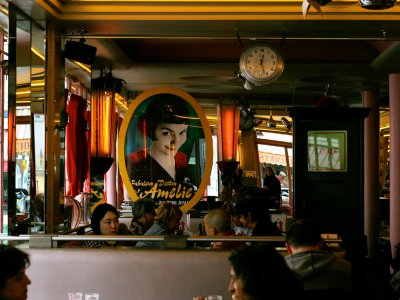 Drink coffee in Cafe des Deux Moulins in Paris
