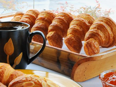 Taste croissants for a breakfast in Paris