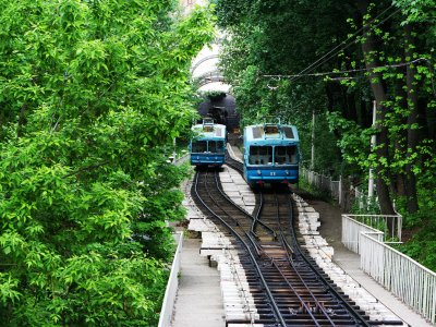 Ride on the funicular in Kiev