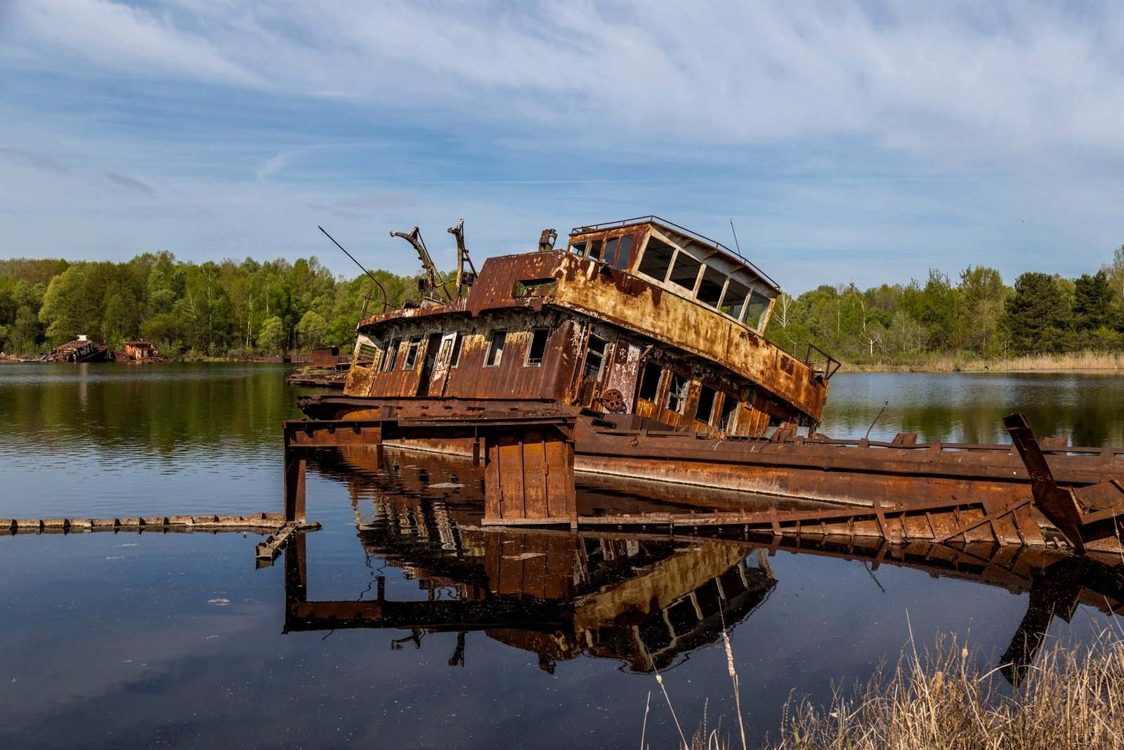 Cemetery of barges and abandoned ships, Chernobyl