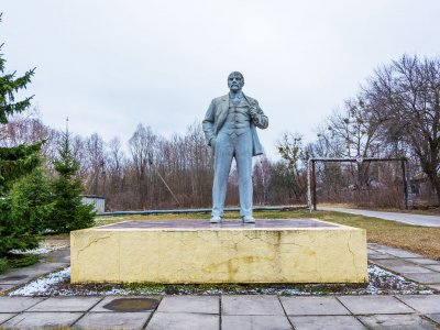 Lenin monument in Chernobyl