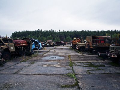 Buryakovka machinery graveyard in Chernobyl