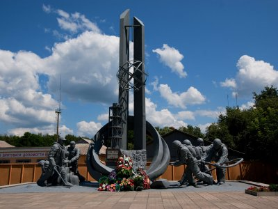 Monument to the Chernobyl Liquidators in Chernobyl