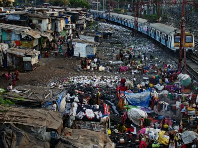 Dharavi slums in Mumbai